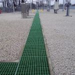 Moulded square mesh GRP grating
