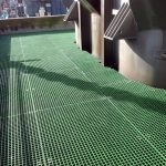 Moulded square mesh GRP grating on Pedestals